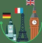 Дает возможность погружения в язык для изучающих английский, немецкий или французский языки. - Bilimland.kz