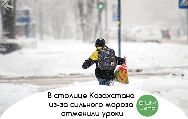 В столице Казахстана из-за сильного мороза отменили уроки